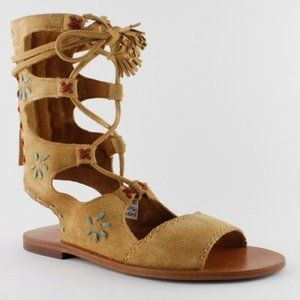 Musse & Cloud lace up embroidered suede sandals
